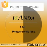 1.56 photochromic Anti glare hard multi coated lens