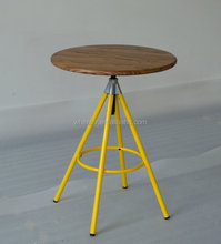 IKEA STYLE SWIVAEL TABLE WITH TIMBER TOP