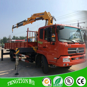 Used condition cargo crane truck with flexible crane for sale