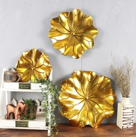 Modern interior decor elegant gold metal lotus flower wall decoration