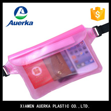 Popular pink transparent plastic waterproof waist pouch use for outdoors