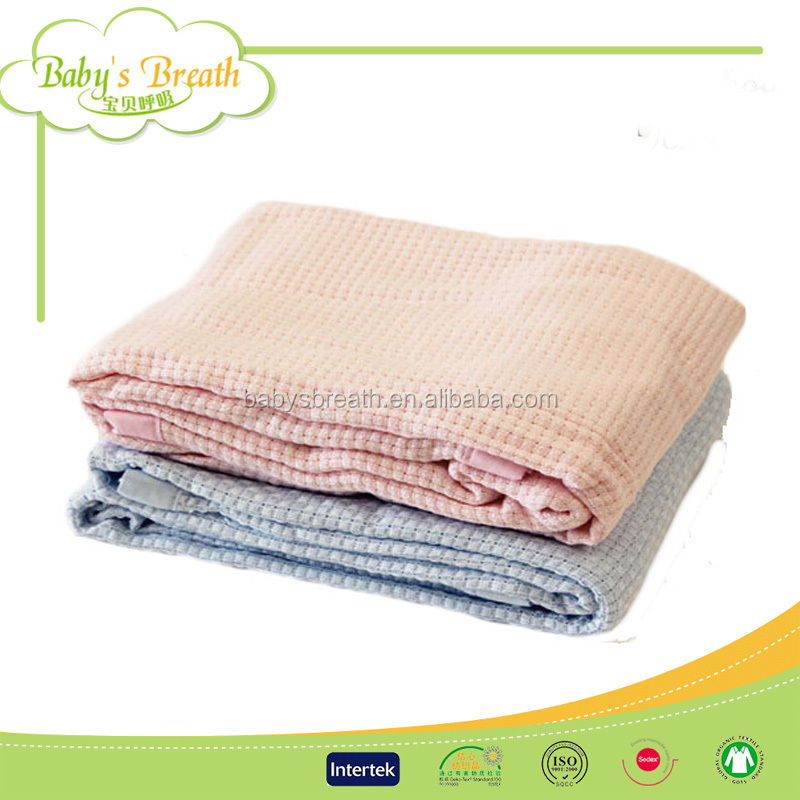PB85 Wholesale Bamboo Infant Baby Swaddling Knitted Throw Waffle Weave Blanket