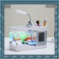 JYX-2010B USB mini desktop aquarium and fish tank with multi function pen container for house and office decoration