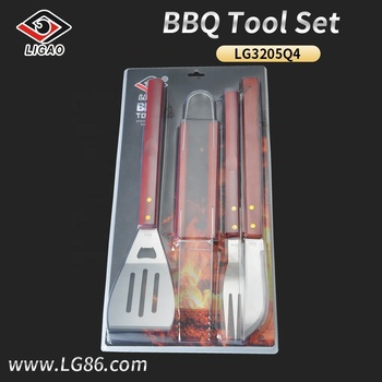 3pcs eco-friendly wooden handle grill utensil set with double blister card