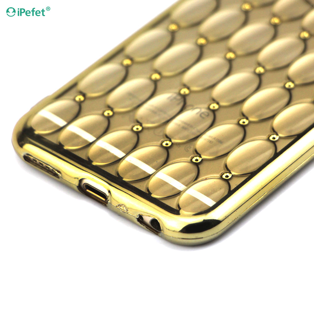 Ultra Thin Clean Soft TPU Crystal Phone Cases Gold Plating Glitter Diamond Cover For iphone 6 6S 6 Plus