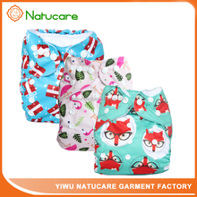 Natucare Cute Fox Patterns Cloth Diaper Adjustable Washable and Reusable Diapers Fitted for Baby Girls and Baby Boys