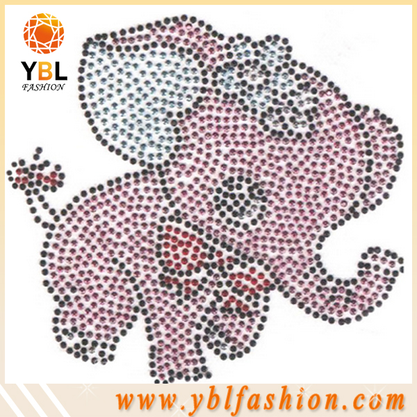 Cute Pink elephant design motif,flat back strass transfer decorative