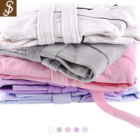 S&J New Design Waffle Weave Spa Bathrobe Luxurious Lightweight Robes For Hotel
