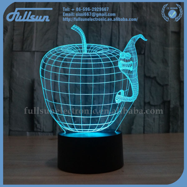 FS2861 led lantern light 3d interior bedroom decoration with apple and worm shape
