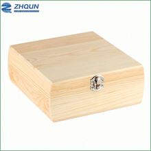 Custom design unfinished solid pine wood quran box with lid