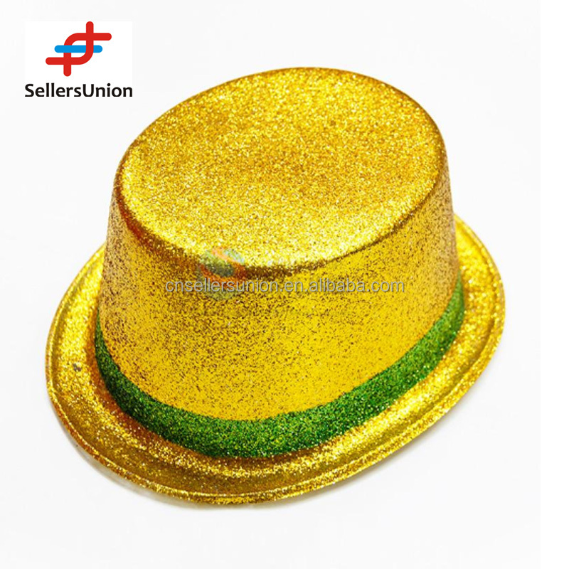 no.1 yiwu commisssion agent wanted Yellow Party 2016 Top Hat Glitter with Green Border 26*21.5*10cm