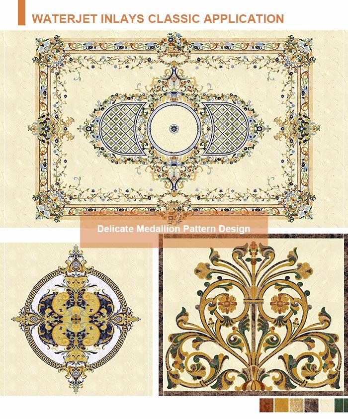Chateau interior floor designs rectangle marble floor medallions patterns
