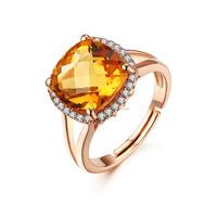 2015 New design gemstone jewelry cushion chessboard crystal citrine natural quartz adjustable ring for women