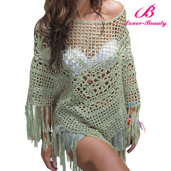 Wholesale Knitted Mini Cover Up Beach Dress for Girls