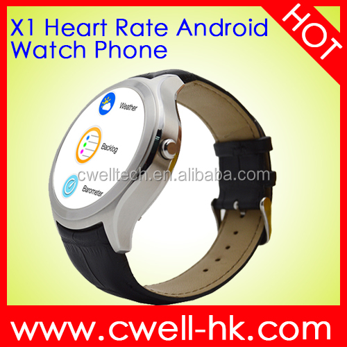 GPS/A-GPS Round LCD Display WiFi and WCDMA 3G Android 4.4 Heart Rate Leather Strap IP65 anti-water Monitor Watch Phone