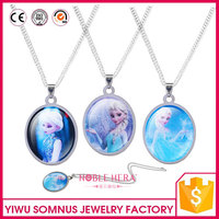 zinc alloy acrylic material round moon shape the frozen necklace