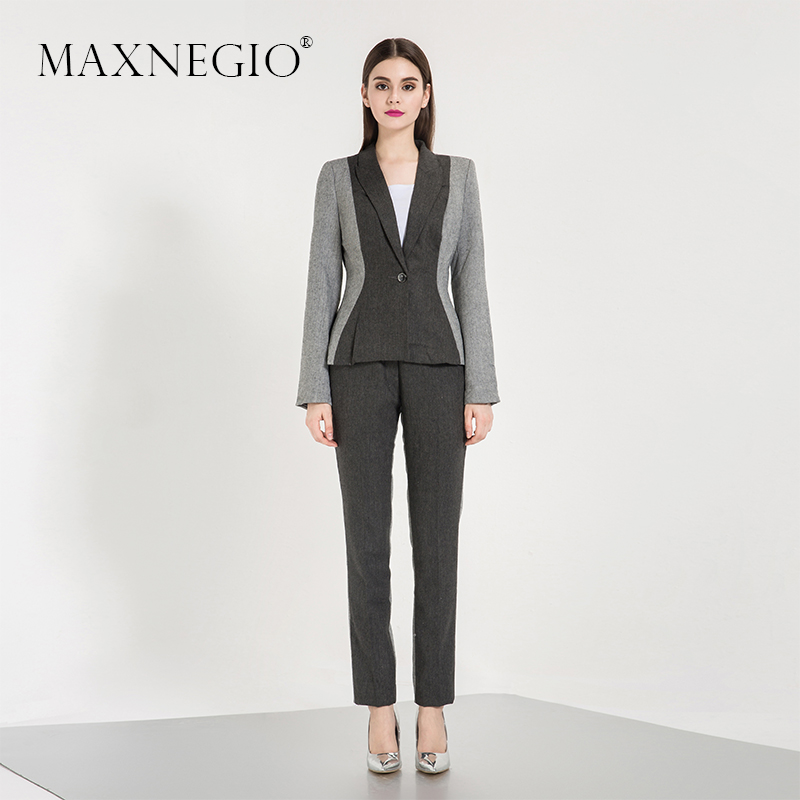 MaxNegio Fashion High End Formal Suit 2 Piece Business Woman Suit for Women 2016 New