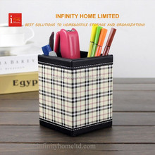 Desk accessories plastic crystal wood pencil holder with tartan design