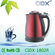 1.8L red colored stainless steel electric kettles ( CIDX-1802R)