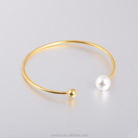 Christmas Gifts Gold Jewelry Stainless Steel Bracelet With Pearls, Import Gift Items From China
