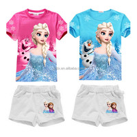Girls Digital Sublimation Print Polyester Cotton T-shirt And Short Sets