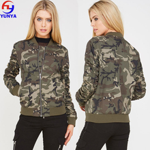 2018 Trending products women casual camo quilted bomber jacket