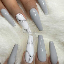 Senboma custom press on nails glossy and marble nails fake nails