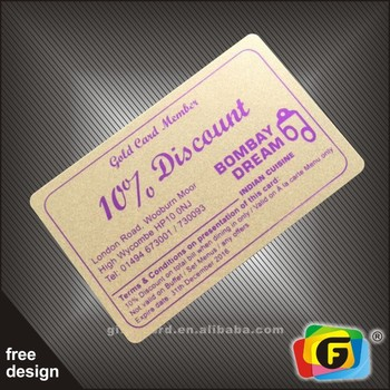 Free Design Offset Printing PVC Discount Cards
