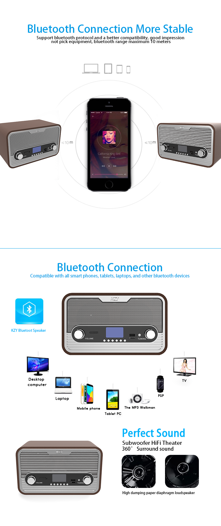 DC 5V Super Bass Music Brown Wooden Blue tooth Speaker Home Theatre System With FM TF Clock