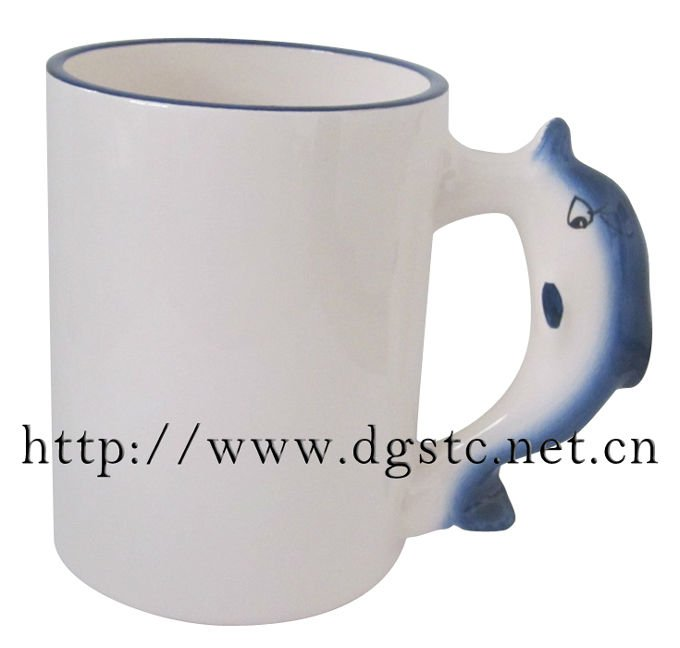 11oz Round White Ceramic Animal Mug with Coating
