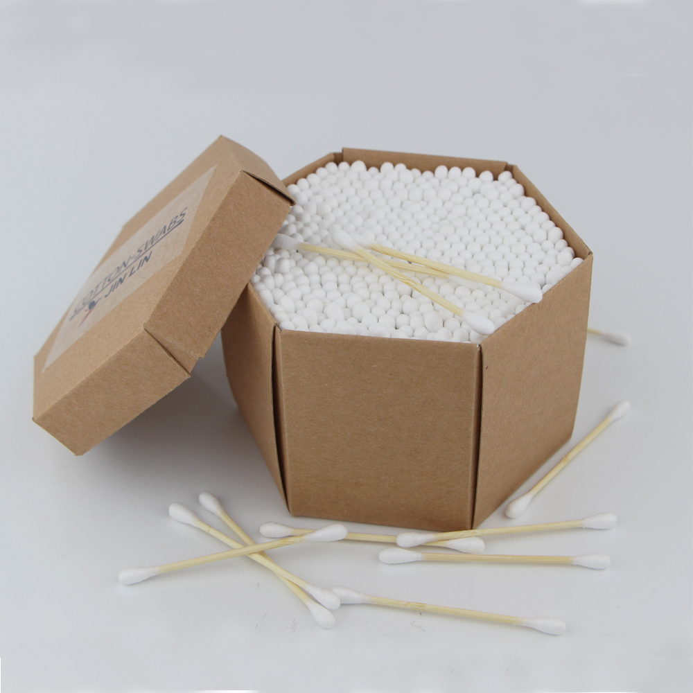 400pcs bamboo cotton buds in a Kraft hexagonal box