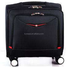 black polyester 600 denier laptop cabin size travel trolley bag