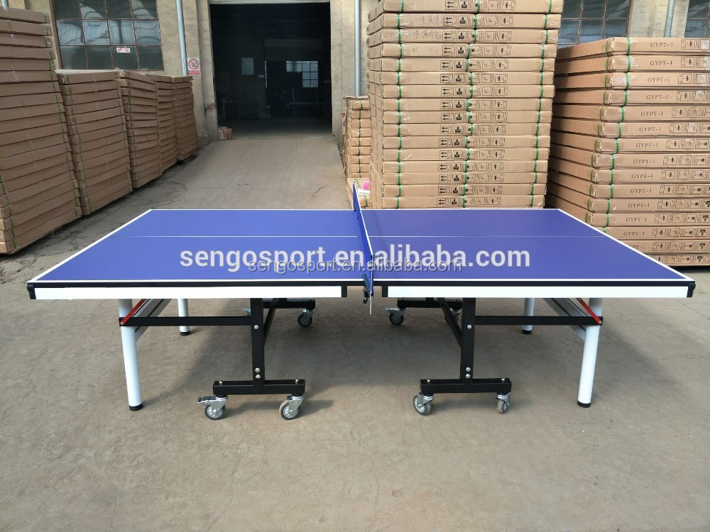 Blue top high quality 25mm folded portable pingpong table tennis table