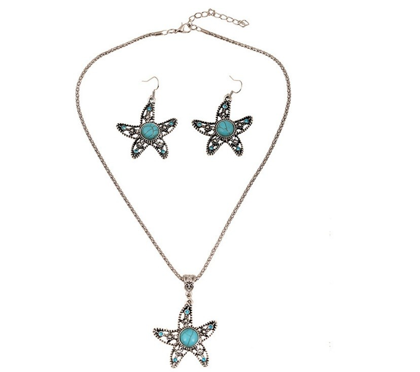 Costume Jewelry set Necklace and pedant Pattern Five angle star one set sell Turquise stone piedra