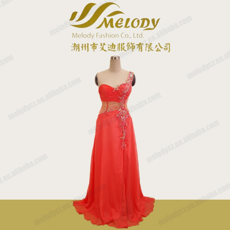 Strapless red beaded layered tulle transparent sexy free shipping prom dress