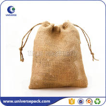 Custom small drawstring jute favor bags with custom printing