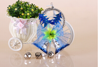 Wholesale hanging christmas tree decoration arts and crafts christmas decor bell with ribbon bow