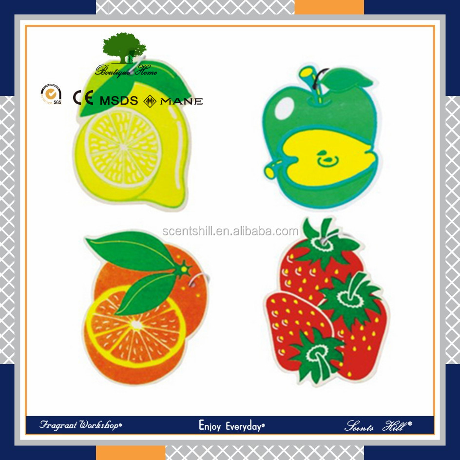 Fruit type cotton paper material high quality promotional paper car air freshener