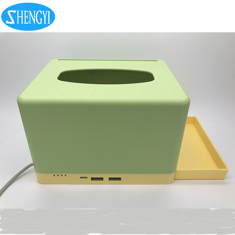 2017 creative designing restaurant tissue box integrated power bank function for mobile phone