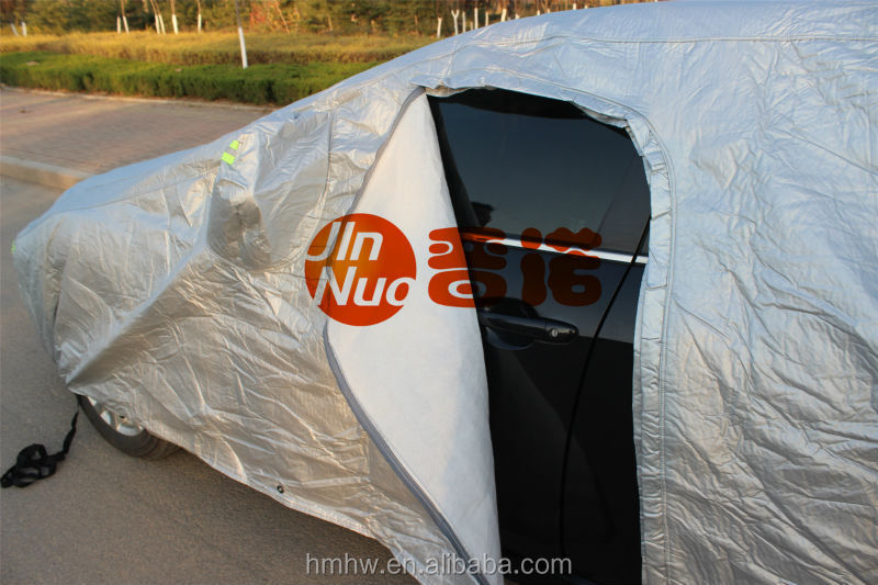 Good Quality waterproof inflatable hail proof car cover---Silver coated Oxford+PPcotton