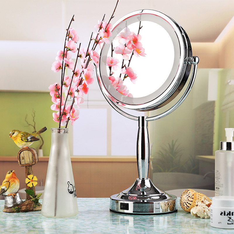 8 inch Polished Round Double-Sided Makeup Magnifying led lighted makeup mirror