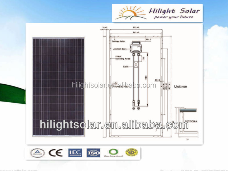 285W poly solar panels solar pv modules for home use with TUV/CE/CEC/IEC/ISO