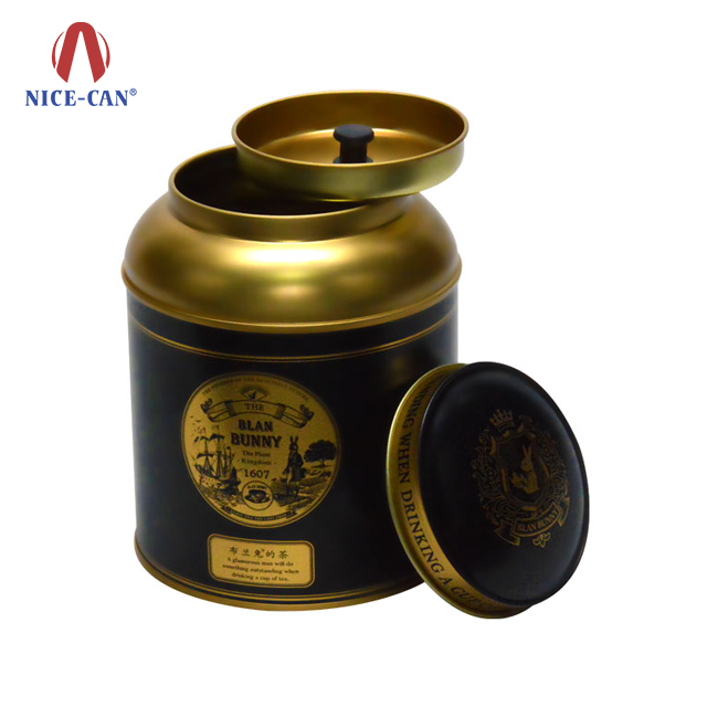Nice-can Wholesale Customized Printing Small Coffee Tea Tin Can with Double Lid Custom Tea Tins