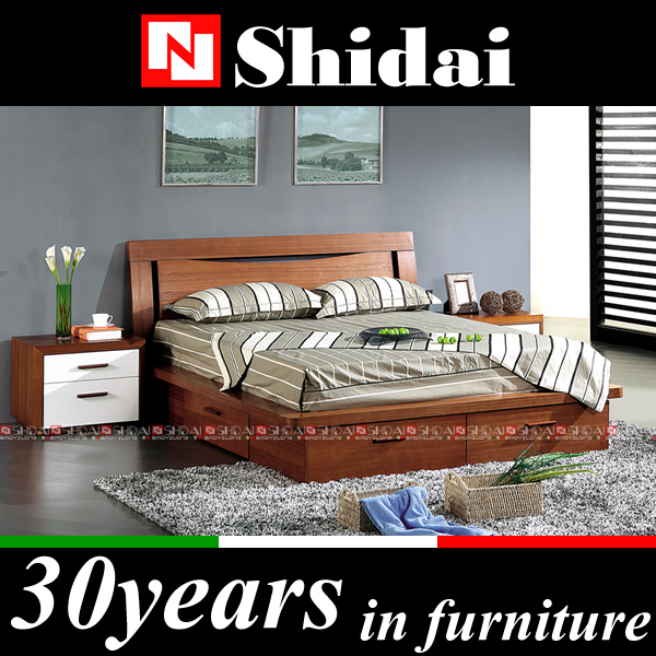 Wooden box bed design / double box bed / wood double bed designs with box B79