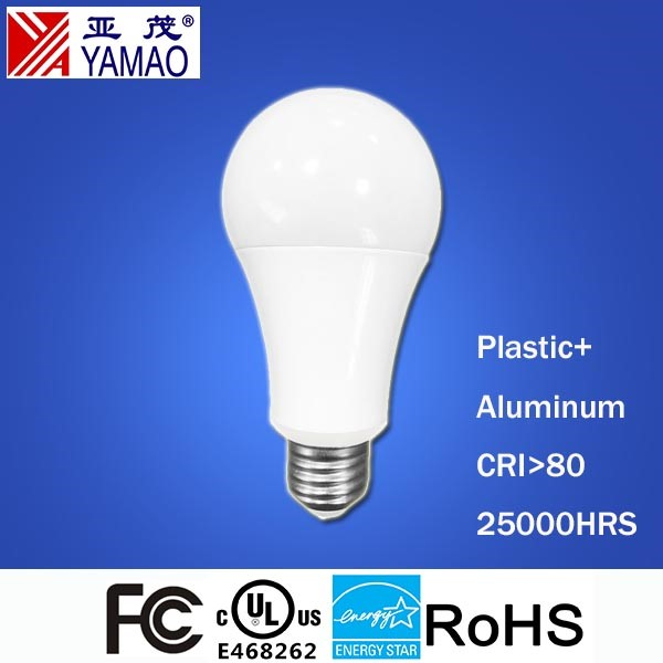 Yamao UL FCC Energy Star Aluminum and Plastic Housing A19 9W LED Light Bulbs Wholesale