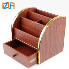 Office & school supplies desk accessories wooden stationery desk organizer with drawer