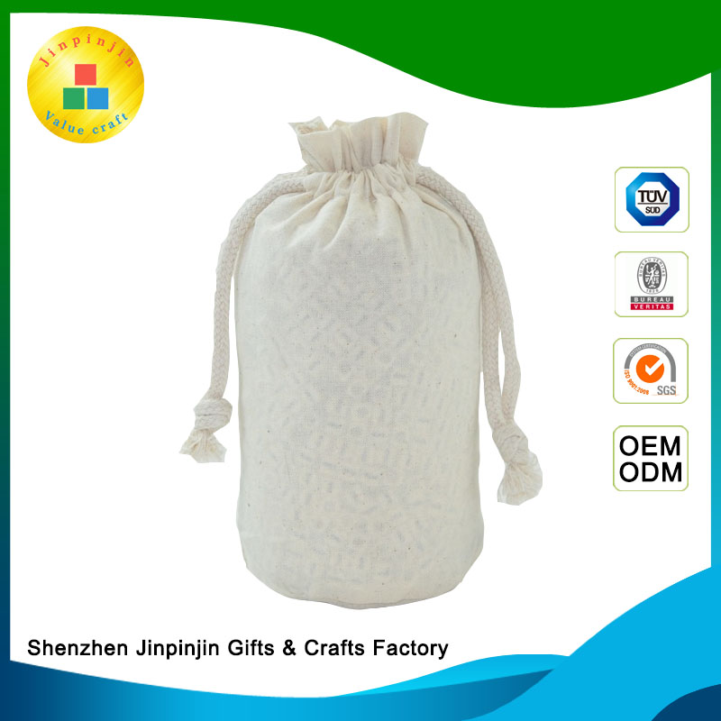 wholesale promotion handmade recycle plain custom cheap printed small white gift organic cotton bag