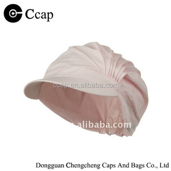 Wholesale cotton pleated pink beret cap