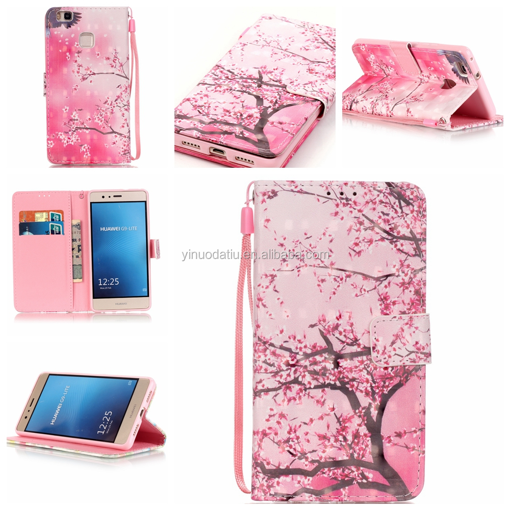 3D leathe cover case for huawei P9 lite mobile phone cover