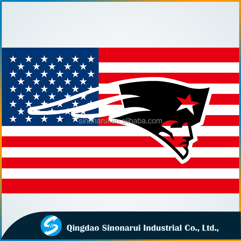 Football league 3'x5' polyester transparent New England Patriots soccer US flag